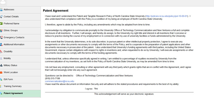 Patent Agreement Screenshot